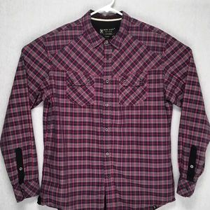 Marc Ecko Cut & Sew button up long sleeve plaid L